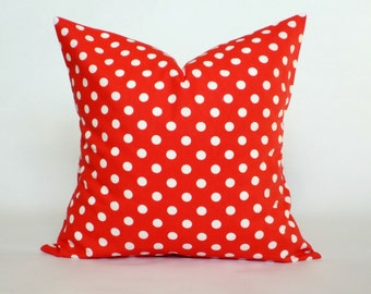"Red and White Polka Dot Pillow Cover, Decorative Throw Pillow, Accent Pillow, Pillow Sham, 14x14"", 16x16"", 18x18"", 20x20"""