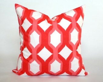 "Red, Pink and White Pillow Cover, Decorative Throw Pillow, Accent Pillow, Pillow Sham, 14x14"", 16x16"", 18x18"", 20x20"""