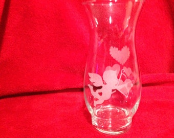 Valentine's Vase with Cupid and Hearts