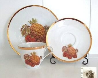 Tea Set, China Teacup Saucer Plate, Fall Harvest, Autumn Decor, Hostess Gift, Jahre Bareuther Waldsassen Bavaria