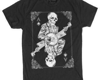 Men's Banjo Shirt - Skull Playing Banjo Men's T-Shirt