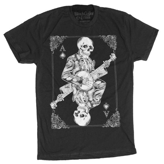 Men's Banjo Shirt - Skull Playing Banjo Men's T-Shirt
