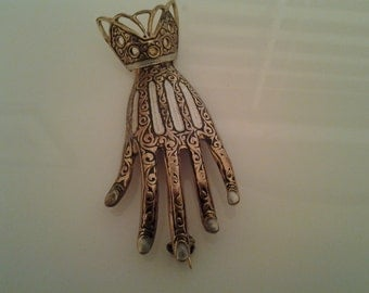 Damascene Hand Brooch Pin Vintage Antique