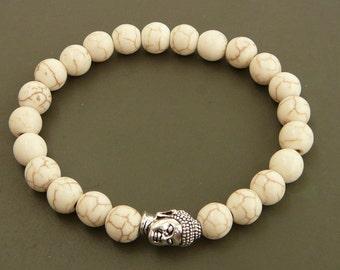 Buddha Bracelet Yoga Bracelet Meditation Bracelet Howlite Bracelet for men Buddha Jewelry Stretch Bracelet for her