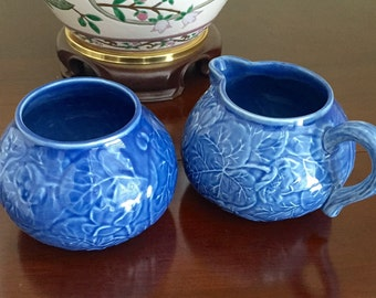 Bordallo Pinheiro Portugal Blue Majolica Sugar Bowl and Creamer