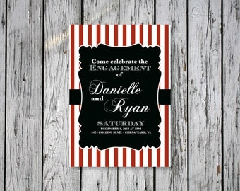 Striped Engagement Party Invitation