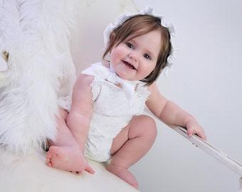 Baby Girl Romper and Bonnet
