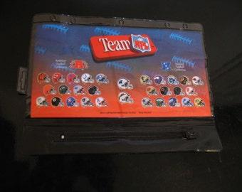 New - NFL  - 1994 - Pencil - pen - case - for - 3 ring binder - zipper - pouch - case - football - teams - helmets
