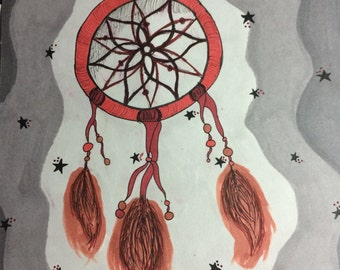 Dream Catcher Drawing 6x6