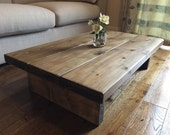 Rustic Handmade oak finished pine coffee table, FREE POSTAGE in ENGLAND. (mk1)