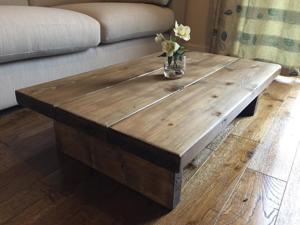 Rustic Handmade Oak Finished Pine Coffee Table By