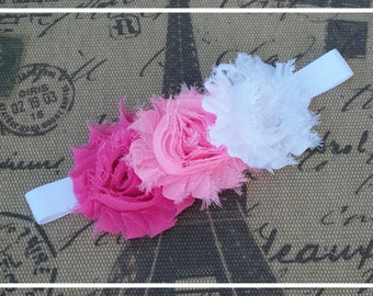 Shabby chic baby headband, Flower baby headband, Newborn Headband, toddler headband, child headband, Photo prop, Flower Headband
