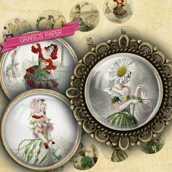 """Antique prints of female plants - digital collage sheet - td81 - 1.5"""", 1.25"""", 30mm, 1 inch circles magnet, Images for pendant, cabochon caps steampunk buy now online"""