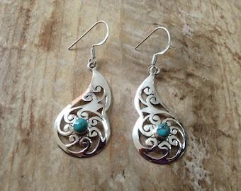 Sterling silver gemstone earrings/ Turquoise Copper earrings/ 925 Sterling Silver