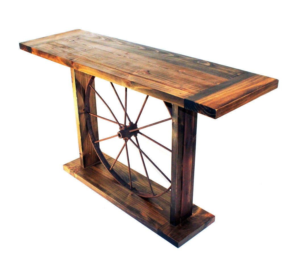 Handmade reclaimed wood and antique wheel console table in