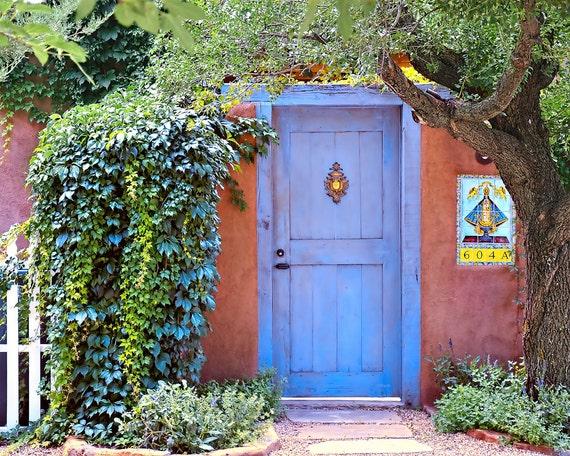 southwest decor blue door art print santa fe decor periwinkle southwest photo - Southwest Decor