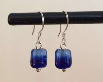 Sterling Silver Earrings with Blue Glass Bead - ONE OF A KIND