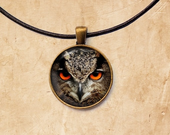 Bird jewelry Owl necklace Animal pendant