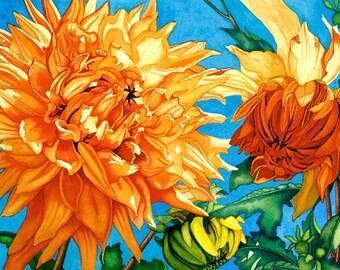 Watercolor painting...SUNLIT DAHLIAS...dahlias...giclee