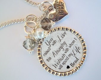 Wedding sentimental quote necklace Mother of the Bride Groom Step mom ...