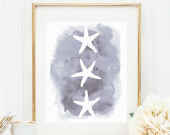 Beach Decor, Gray Starfish Printable, Starfish Print, Digital Print, Starfish Wall Art, Nursery Print, Wall Decor, Watercolor Download