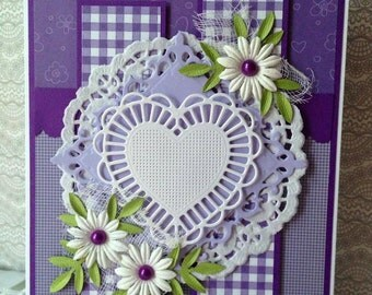 Handmade Valentines \ Greeting \ Sweet Card with Flowers 5 x 7 for any occasion