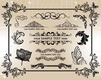 Instant Download Vintage Frame Border Clipart Flourish Swirl Scrapbook Embellishment Floral Butterfly Frame Border Decor Element 0004