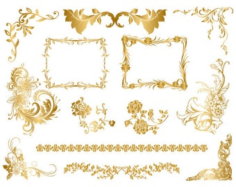 Instant Download Golden Frame Border Clipart Gold Digital Flourish Swirl Frame Clip Art Golden Flower Scrapbook Embellishment 0035