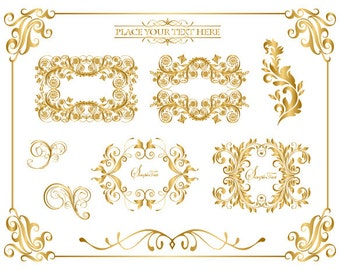 Instant Download Golden Frame Border Clipart Gold Digital Flourish Swirl Frame Clip Art Golden Vintage Frame Scrapbook Embellishment 0041