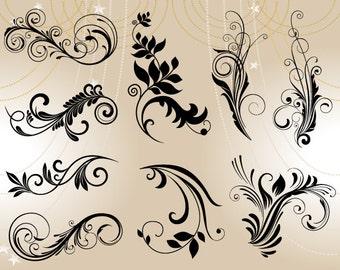 Digital Flower Flourish Swirl Clip Art Digital Flourish Swirls ClipArt Digital Scrapbooking Embellishments Decor Wedding Invitation DIY 0086