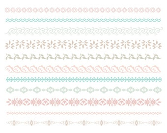 Digital Flower Border Clip Art Digital Flourish Swirls Border Clip Art Grey / Blue / Pink Borders Scrapbooking Embellishments Decor 0100