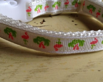 1/2 in Wide 8-12 Adjustable Palm Trees & Pink Flamigos Dog Collar