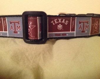 1 Inch Wide Custom Made Adjustable Texas A & M Dog  Collar