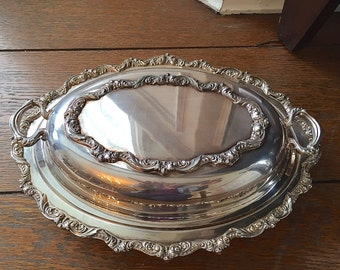 Old English by Poole Silver (plate silver) double vegetable bowl