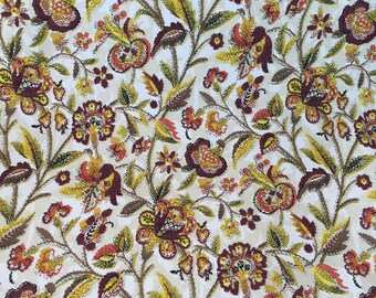 1970s Floral and Branch Decorator Fabric 1 2/3 Yards