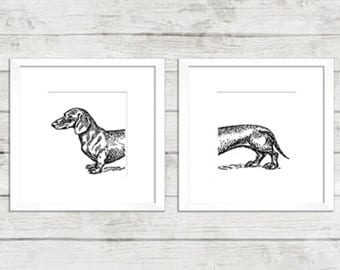 Dachshund Dog Print Dachshund Wiener Dog Art Modern Home Decor Wall Art Print. Minimalist Dog Lover Art.Unique. Black and White Print