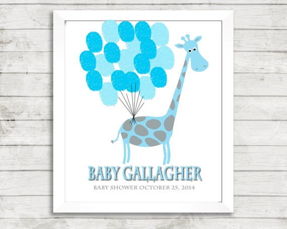 fingerprint tree baby shower thumbprint giraffe baby shower balloon