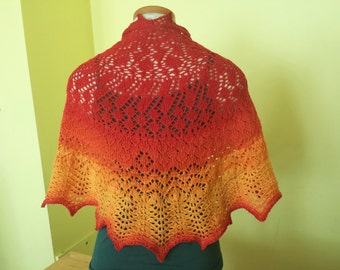 OOAK Half circle hand knit lace shawl