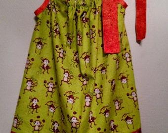 3 Toddler Pillowcase monkey dress