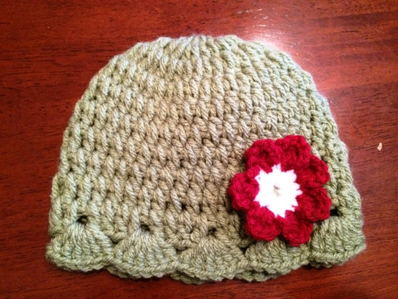 Green Baby Hat with Red Flower