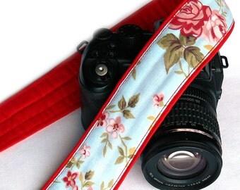 Flowers Camera Strap. DSLR Camera Strap. Canon Nikon Camera Strap. Blue Red camera strap. Cute Camera Strap. Accessories