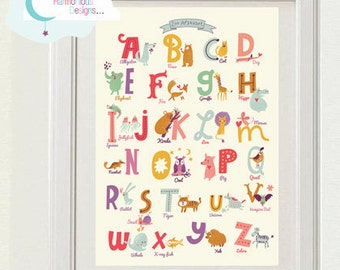 Zoo Animals Alphabet, Digital INSTANT Print, Customizable, Childrens, Kids, Baby Room, Nursery 8x10 inchs