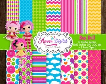 Papers digital party Lalaloopsy Inspired Rag Doll Kit / Digital Papers Clipart / create invitations, labels and more!