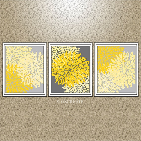 Yellow And Grey Bathroom Wall Decor : Yellow gray bathroom wall art decor