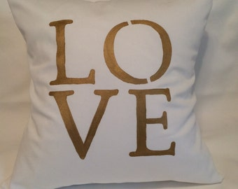 LOVE pillow cover, gold, custom pillow, wedding gift, novelty