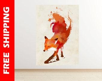 orange fox wall decal nursery, fox wall sticker bedroom, fox decal vinyl wolf poster, cool vulpes painting large print by Robert Farkas RF18