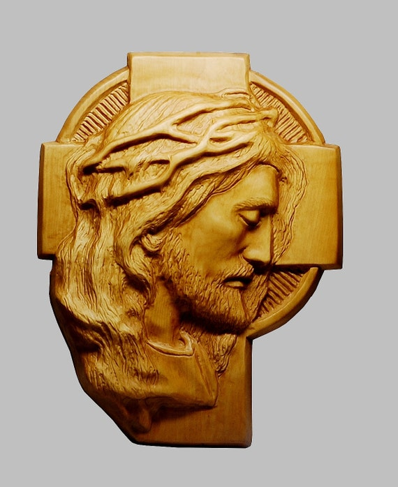 Jesus christ face on cross religious wood by