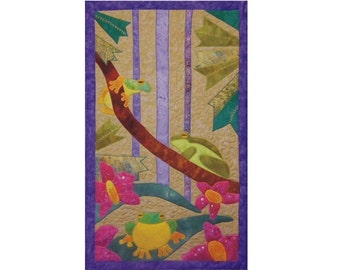 Frogs is a quilted applique pattern for a wall hanging