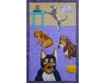 Dogs is a quilted applique pattern for a wall hanging