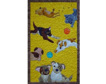 Puppies is a quilted applique pattern for a wall hanging